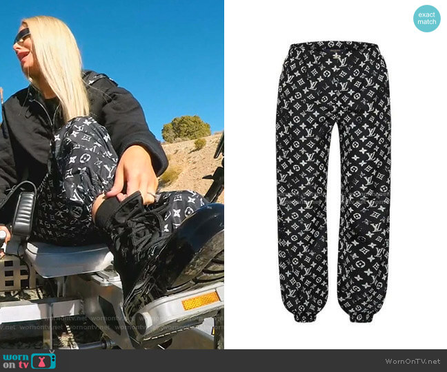 Stencil-Effect Monogram Jogging Pants by Louis Vuitton worn by Dorit Kemsley  on The Real Housewives of Beverly Hills