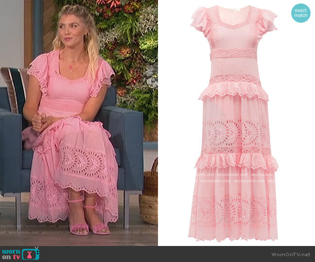 Rinny tiered cotton maxi dress by Love Shack Fancy worn by Amanda Kloots  on The Talk