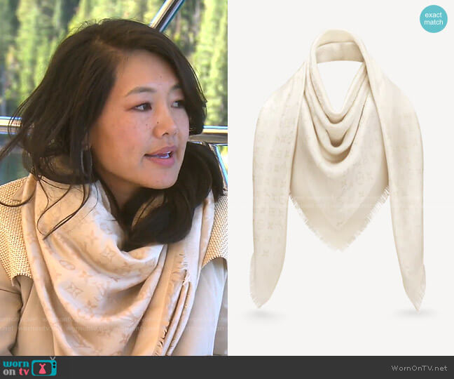 Monogram Shine Shawl by Louis Vuitton worn by Crystal Kung Minkoff  on The Real Housewives of Beverly Hills