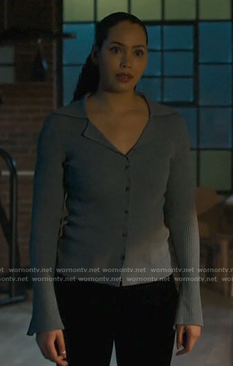 Macy's blue collared cardigan on Charmed