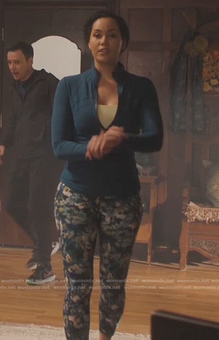 Macy's floral leggings and teal jacket on Charmed