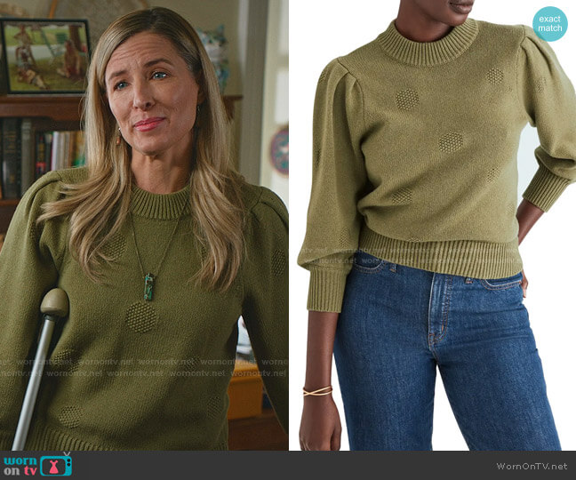 Eaton Dotted Sweater by Madewell worn by Kate Greenhouse on Good Witch
