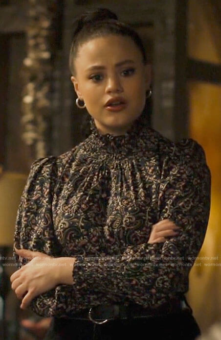 Maggie's paisley smocked neck blouse on Charmed
