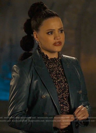 Maggie's teal blue leather blazer on Charmed