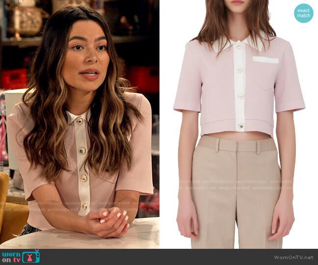 Maje Myshirt Cropped Cardigan worn by Carly Shay (Miranda Cosgrove) on iCarly