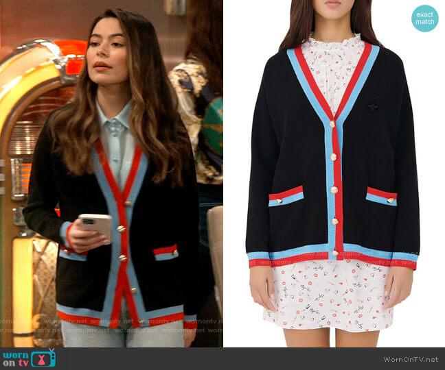Maje Mysweetie Collegiate Cardigan worn by Carly Shay (Miranda Cosgrove) on iCarly