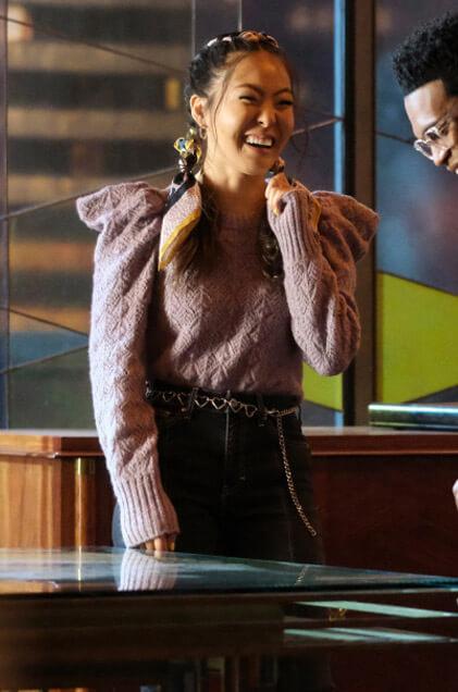 Mary's purple puff sleeve pointelle sweater on Batwoman