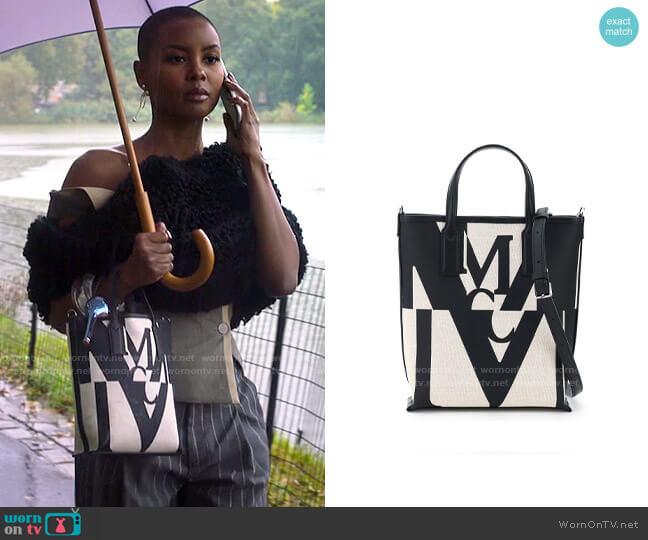 MCM Logo Glitch Mini Canvas Shopper worn by Ella McFair (Andrea Bordeaux) on Run the World