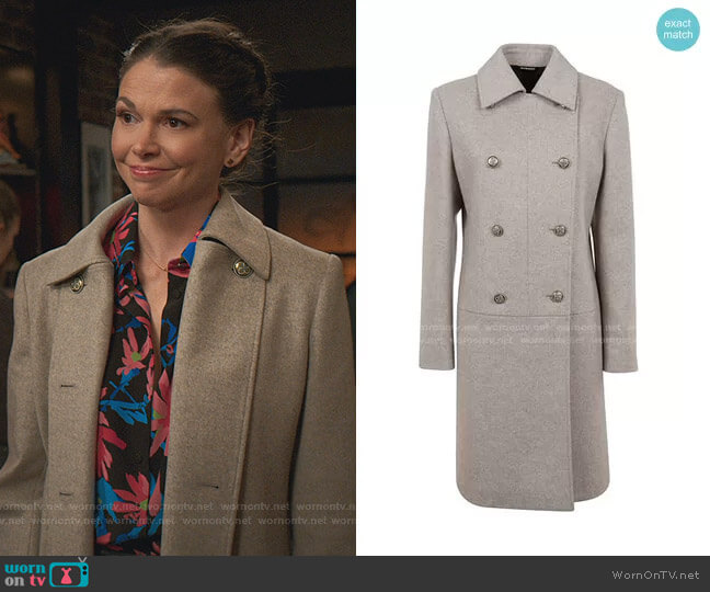 Melange Wool Coat by Givenchy worn by Liza Miller (Sutton Foster) on Younger