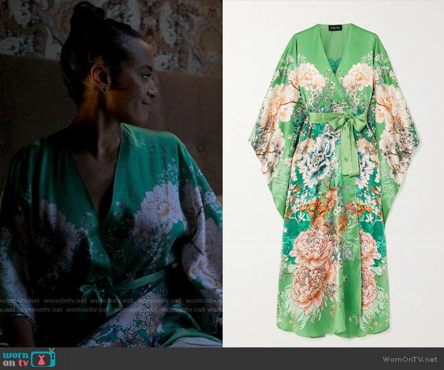 Meng Belted Floral Print Silk Satin Robe worn by Sondi Hill (Corbin Reid) on Run the World