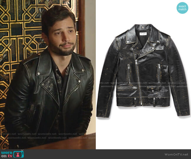 Distressed Leather Biker Jacket by Saint Laurent worn by Sam Flores (Rafael de la Fuente) on Dynasty