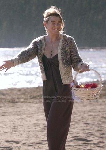 Meredith's brown maxi dress on Greys Anatomy