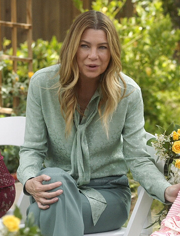 Meredith's mint green printed tie neck blouse on Greys Anatomy