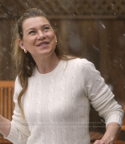 Meredith's white cable knit sweater on Greys Anatomy