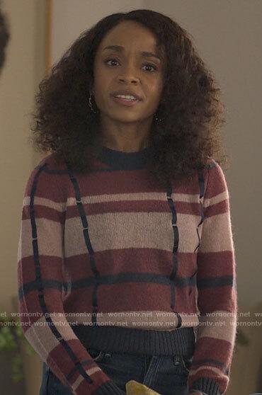 Mia's plaid sweater on Love Victor