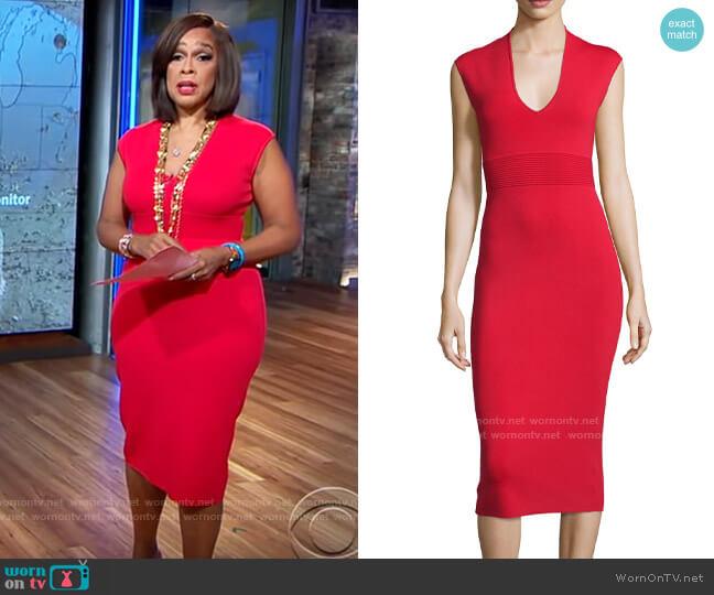 MICHAEL Michael Kors Cap-Sleeve V-Neck Midi Sheath Dress worn by Gayle King  on CBS This Morning