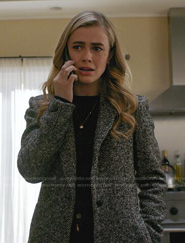 Michaela's grey herringbone coat on Manifest