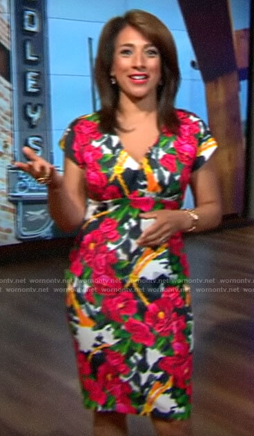 Michelle Miller's floral v-neck sheath dress on CBS This Morning