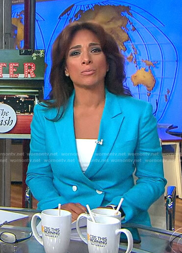 Michelle Miller's turquoise blue blazer on CBS This Morning