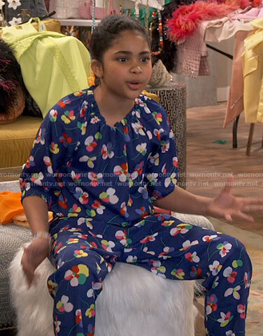 Millicent's blue floral jumpsuit on iCarly