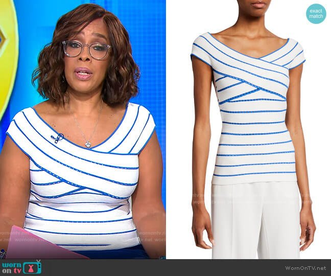 Milly Bicolor Stripe Off-the-Shoulder Top worn by Gayle King  on CBS This Morning