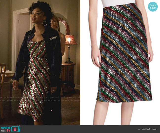Rainbow Multistripe Sequin Bias Skirt by Milly worn by Monica Colby (Wakeema Hollis) on Dynasty