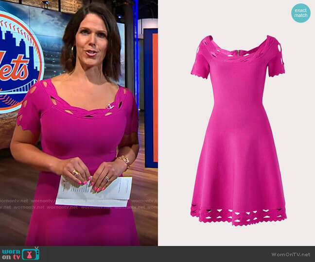 Milly Keyhole Twist Trim Flare Dress worn by Dana Jacobson  on CBS Mornings