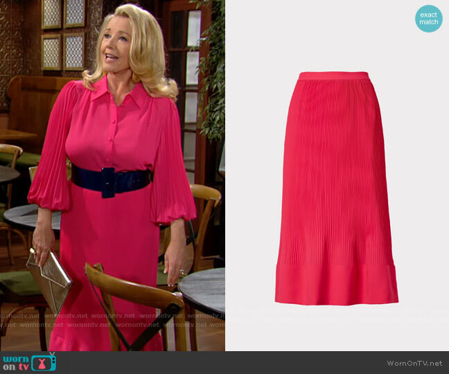 Milly Larissa Pleat Skirt worn by Nikki Reed Newman (Melody Thomas-Scott) on The Young & the Restless