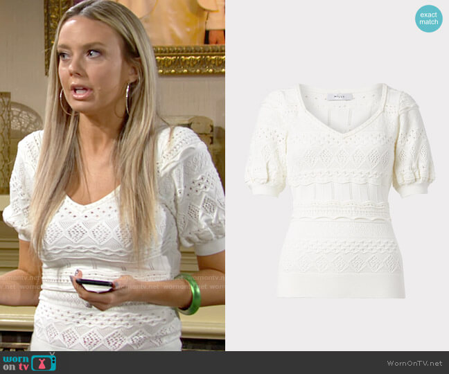 Milly Lightweight Pointelle Top worn by Abby Newman (Melissa Ordway) on The Young & the Restless