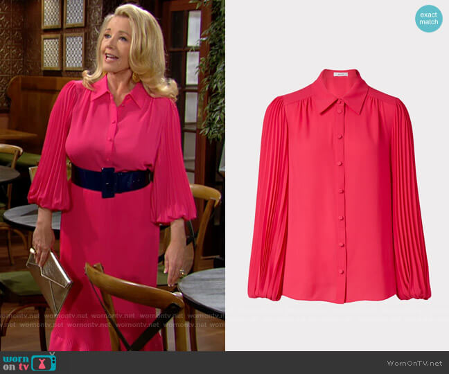 Milly Lina Pleat Blouse worn by Nikki Reed Newman (Melody Thomas-Scott) on The Young & the Restless