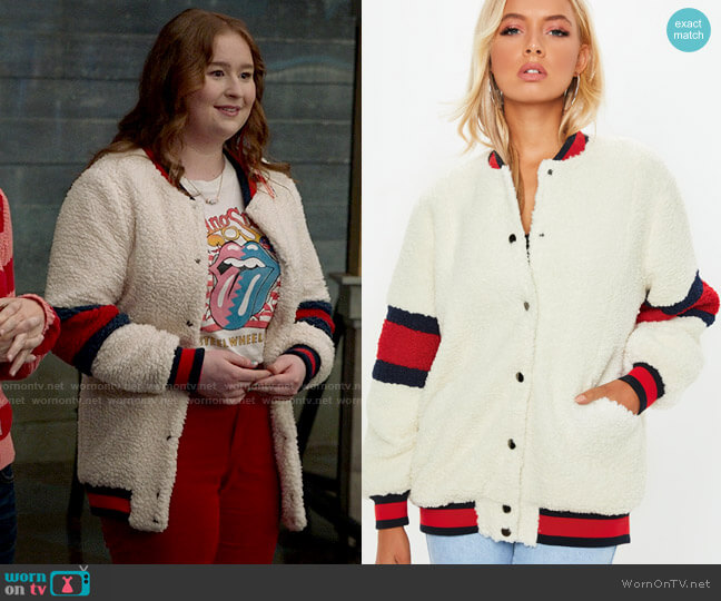 Missguided USA Teddy Bomber Jacket worn by Ashlyn (Julia Lester) on High School Musical The Musical The Series