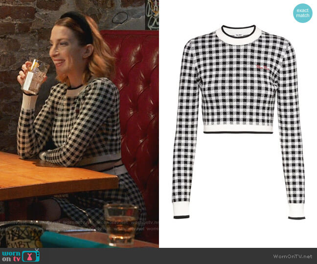 Gingham-Check Cropped Sweater by Miu Miu worn by Lauren (Molly Bernard) on Younger