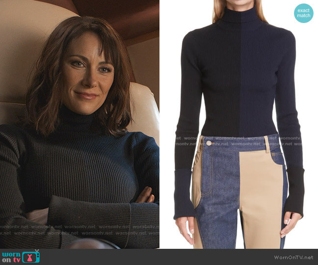 Colorblock Rib Turtleneck Merino Wool Blend Sweater by Monse worn by Quinn (Laura Benanti) on Younger