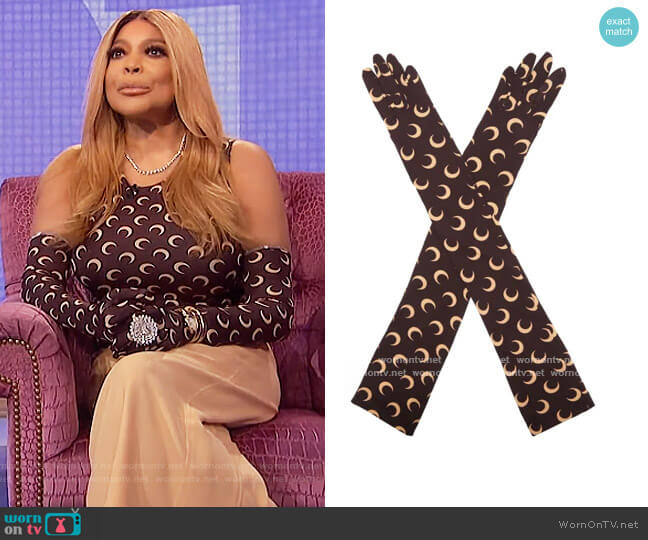 Second Skin Long Gloves by Marine Serre worn by Wendy Williams  on The Wendy Williams Show