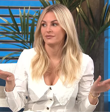 Morgan's ruffle trimmed collar blouse on E! News Daily Pop