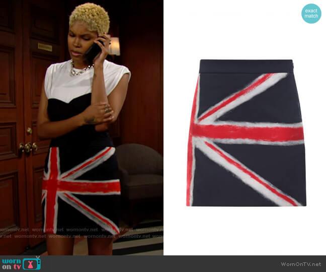 Moschino Union Jack Skirt worn by Paris Buckingham (Diamond White) on The Bold & the Beautiful