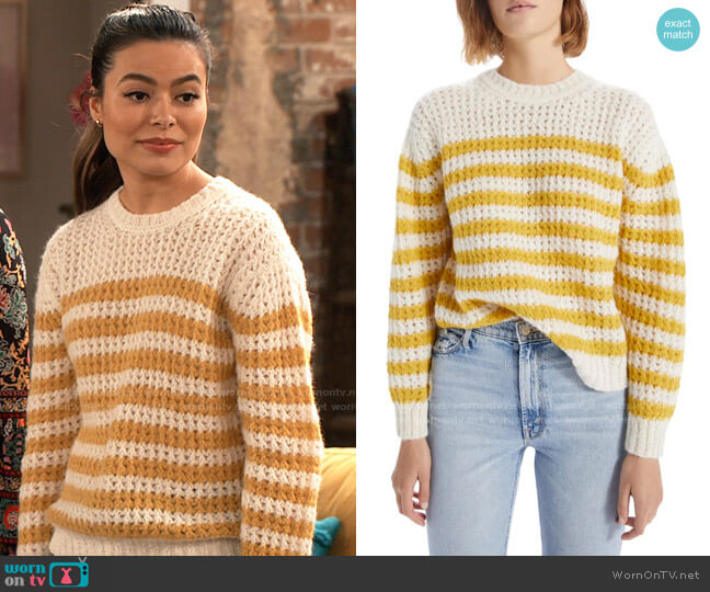 Mother The Jumper Stripe Alpaca Blend Sweater worn by Carly Shay (Miranda Cosgrove) on iCarly