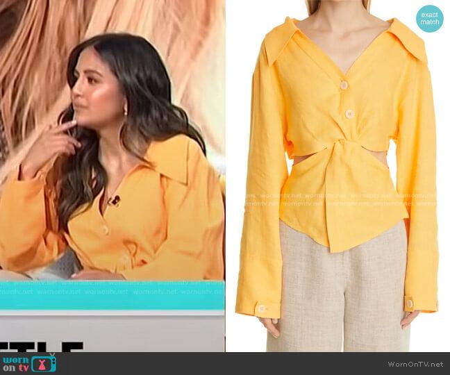 Rasha Twist Front Linen Shirt by Nanushka worn by Erin Lim  on E! News