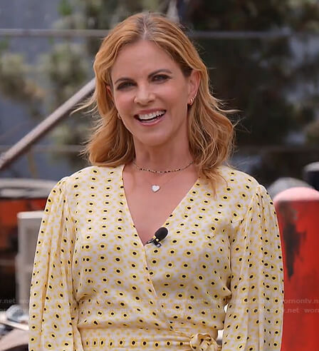 Natalie's yellow floral wrap top on Today