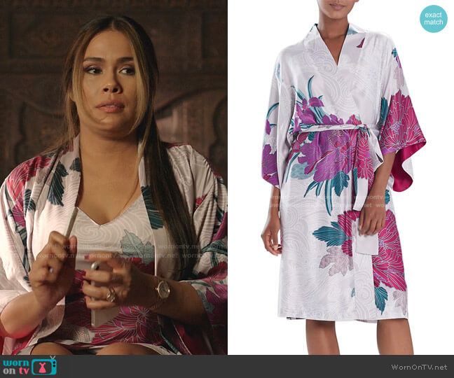Jubako Floral Robe by Natori worn by Cristal Jennings (Daniella Alonso) on Dynasty