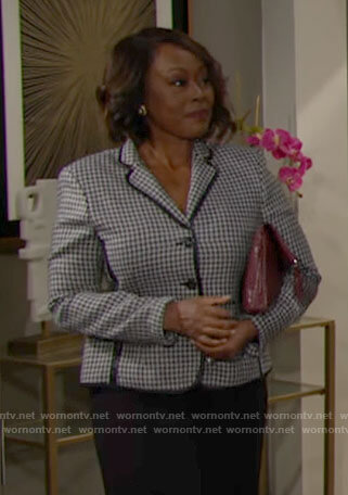 Naya's houndstooth jacket on The Young and the Restless