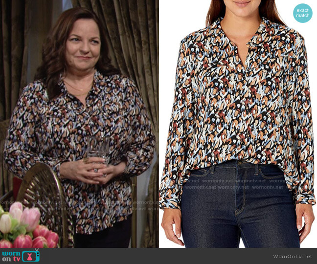 Nic + Zoe Painted Leopard Shirt worn by Nina Webster (Tricia Cast) on The Young & the Restless