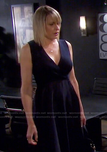 Nicole's navy mixed media dress on Days of our Lives