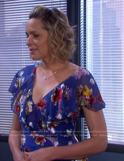 Nicole's blue floral ruffle dress on Days of our Lives