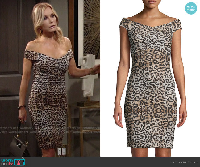 Nicole Miller Leopard-Print Off-the-Shoulder Dress worn by Lauren Fenmore (Tracey Bregman) on The Young & the Restless