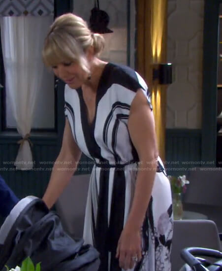 Nicole's white striped printed dress on Days of our Lives