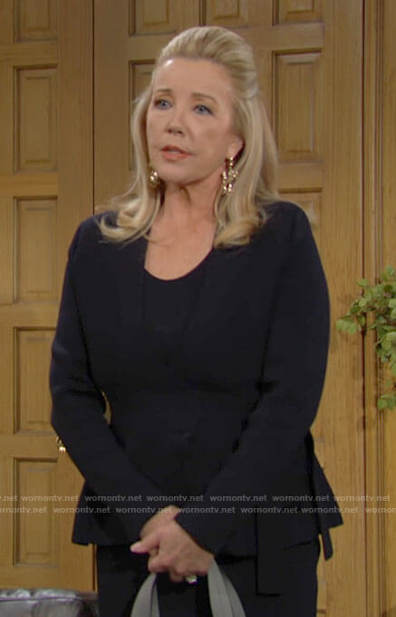 Nikki's navy wrap jacket on The Young and the Restless