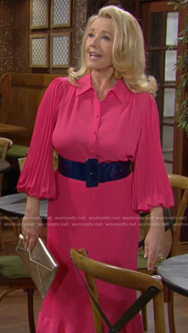 Nikki's pink pleated sleeve blouse and midi skirt on The Young and the Restless