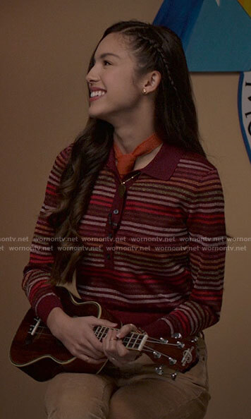 Carlos's camouflage and stripe zip sweater on High School Musical The Musical The Series