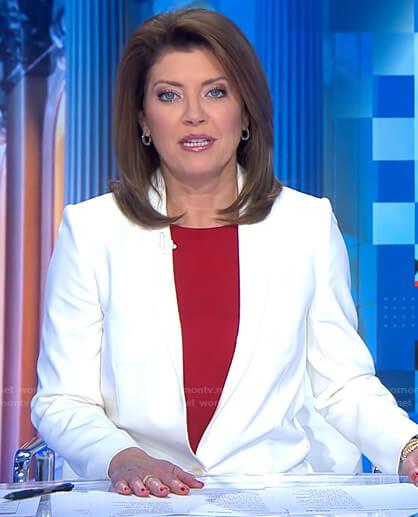 Norah's white blazer on CBS Evening News